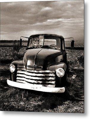 Bob's Truck In B/w Metal Print by Julie Dant