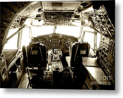 Metal Print featuring the photograph Boeing 747 Cockpit 21 by Micah May