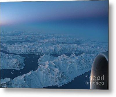 Boeing 777 Flying Over Greenland Fjords Metal Print by Mike Reid