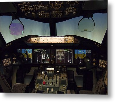 Boeing 787 Dreamliner Cockpit Metal Print by Daniel Hagerman