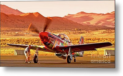 Boeing North American P-51d Sparky At Sunset In The Valley Of Speed Reno Air Races 2010 Metal Print by Gus McCrea