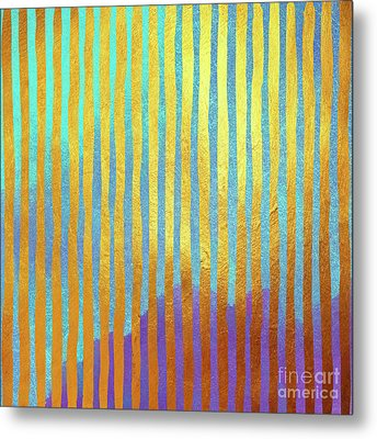 Bohemian Gold Stripes Abstract Metal Print by Tina Lavoie