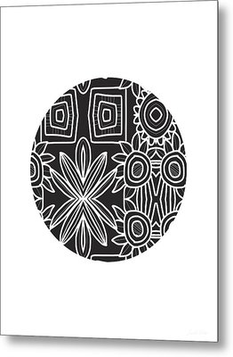 Boho Black And White Ball 1- Art By Linda Woods Metal Print