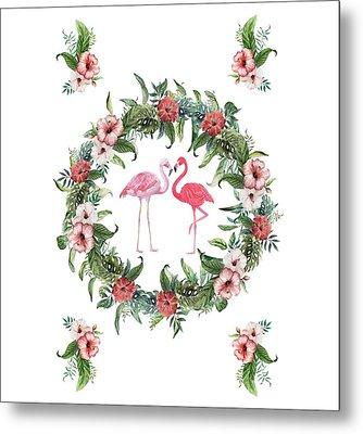 Metal Print featuring the digital art Boho Floral Tropical Wreath Flamingo by Georgeta Blanaru