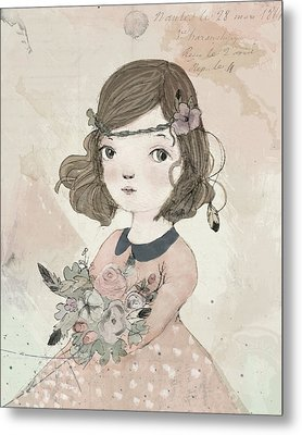 Boho Little Girl Metal Print