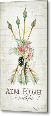 Metal Print featuring the painting Boho Western Arrows N Feathers W Wood Macrame Feathers And Roses Aim High by Audrey Jeanne Roberts