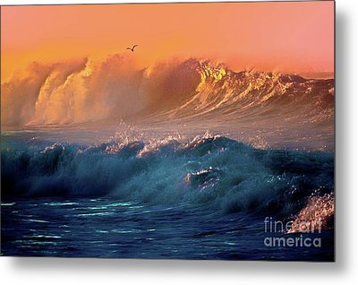 Boisterous Seas And Gull Metal Print