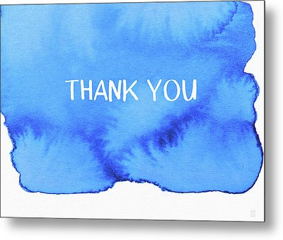Bold Blue And White Watercolor Thank You- Art By Linda Woods Metal Print
