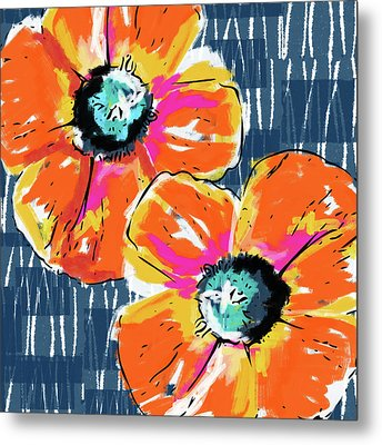 Bold Orange Poppies- Art By Linda Woods Metal Print by Linda Woods