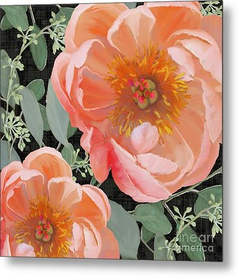 Bold Peony Seeded Eucalyptus Leaves Metal Print by Audrey Jeanne Roberts