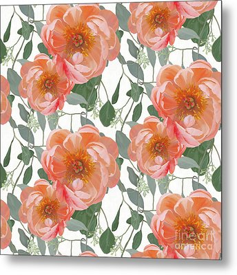 Bold Peony Seeded Eucalyptus Leaves Repeat Pattern Metal Print by Audrey Jeanne Roberts