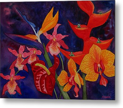 Metal Print featuring the painting Bold Tropical Flowers by Kerri Ligatich