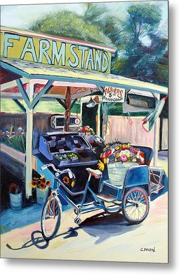 Bolinas Farmstand Bike Metal Print by Colleen Proppe