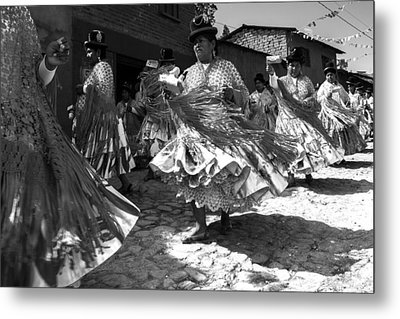 Bolivian Dance Black And White Metal Print