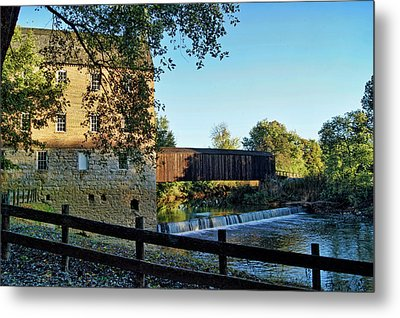Metal Print featuring the photograph Bollinger Mill And Bridge by Cricket Hackmann