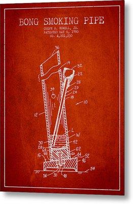 Bong Smoking Pipe Patent 1980 - Red Metal Print