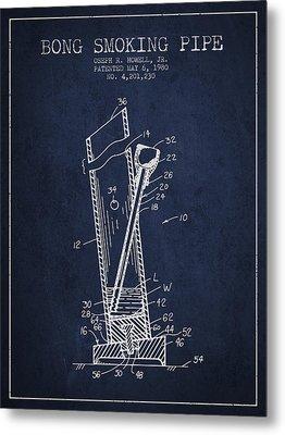 Bong Smoking Pipe Patent1980 - Navy Blue Metal Print