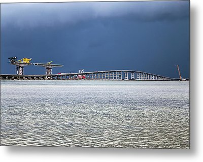 Metal Print featuring the photograph Bonner Bridge Replacement by Alan Raasch