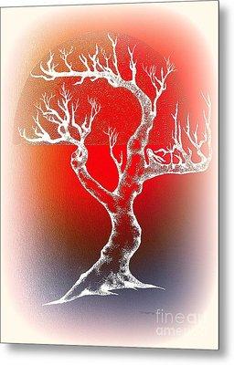 Bonsai Red Metal Print by Greg Moores