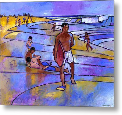 Boogieboarding At Sandy's Metal Print by Douglas Simonson