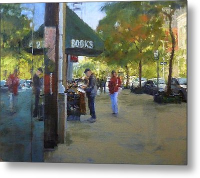 Book Browsing On Broadway Metal Print