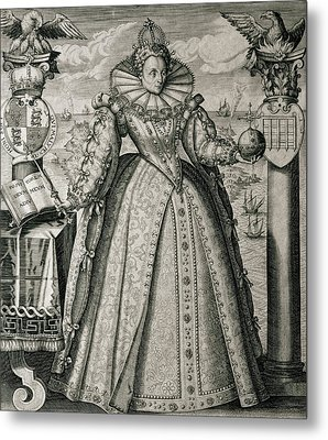 Book Frontispiece Celebrating Queen Elizabeth I's Happy And Prosperous Reign Metal Print by English School