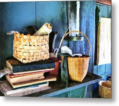 Books And Baskets Metal Print by Susan Savad