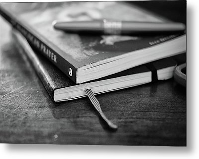 Metal Print featuring the photograph Books, Journal And Pen by Monte Stevens