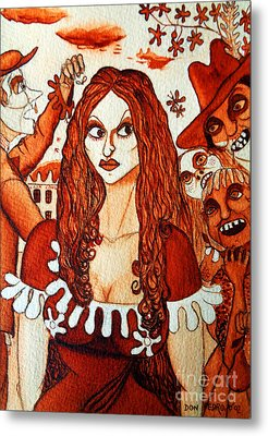 Metal Print featuring the painting Boor People And Girl by Don Pedro De Gracia