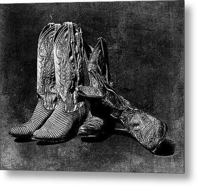 Boot Friends - Art Bw Metal Print by Lesa Fine