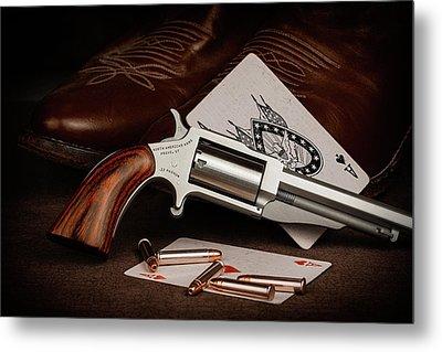 Boot Gun Still Life Metal Print