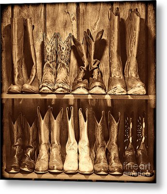 Boot Rack Metal Print by American West Legend By Olivier Le Queinec