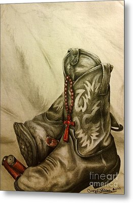 Boots And Shells Metal Print by Angie Sellars