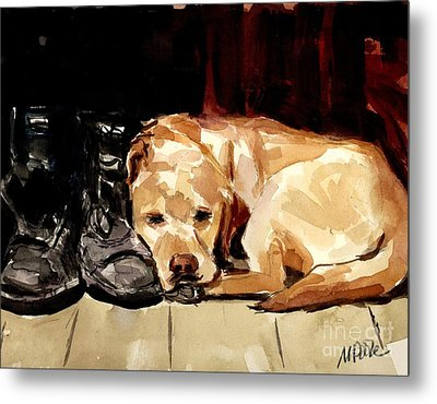 Metal Print featuring the painting Boots by Molly Poole