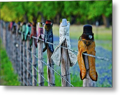 Metal Print featuring the photograph Boots On The Fence by Linda Unger