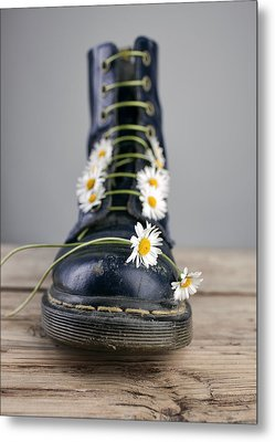 Boots With Daisy Flowers Metal Print by Nailia Schwarz