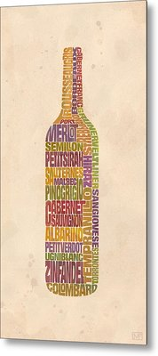 Bordeaux Wine Word Bottle Metal Print