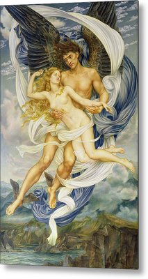 Boreas And Oreithyia Metal Print by Evelyn De Morgan