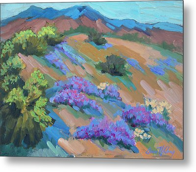 Metal Print featuring the painting Borrego Springs Verbena by Diane McClary