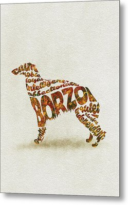 Metal Print featuring the painting Borzoi Dog Watercolor Painting / Typographic Art by Inspirowl Design