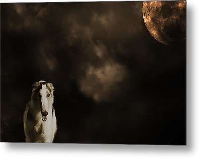 Borzoi Wolf Hound And Full Moon Metal Print by Christian Lagereek