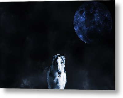 Borzoi Wolf-hound, Hunting Under A Full Moon Metal Print by Christian Lagereek