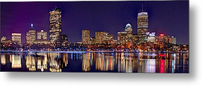 Metal Print featuring the photograph Boston Back Bay Skyline At Night 2017 Color Panorama 1 To 3 Ratio by Jon Holiday