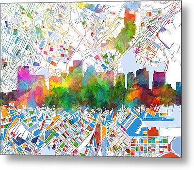 Boston City Skyline Watercolor 15 Metal Print by Bekim Art