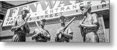 Boston Fenway Park Sign And Four Bronze Statues Metal Print by Paul Velgos