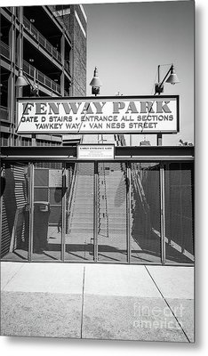 Boston Fenway Park Sign Black And White Photo Metal Print by Paul Velgos