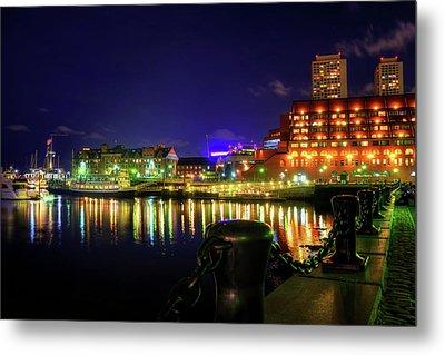 Boston Harbor At Night At Marriott Long Wharf - North End Metal Print by Joann Vitali