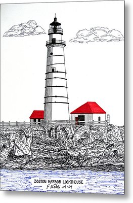 Boston Harbor Lighthouse Dwg Metal Print by Frederic Kohli