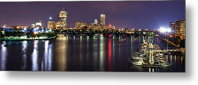 Boston Harbor Nights-panorama Metal Print