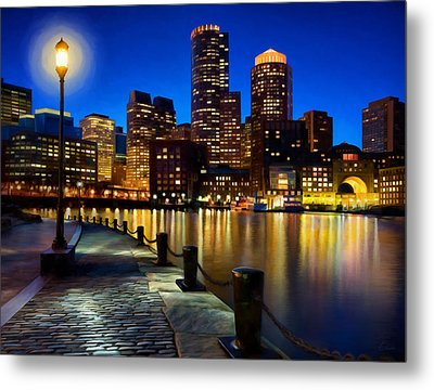 Boston Harbor Skyline Painting Of Boston Massachusetts Metal Print by James Charles